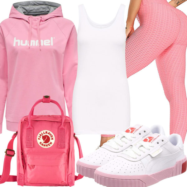 Rosa-Weißes Damenoutfit mit Hoodie und Leggings