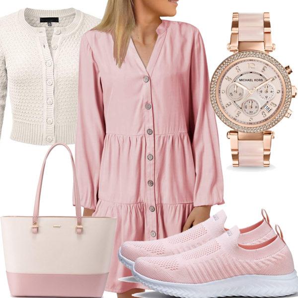 Beige-Rosa Frauenoutfit mit Kleid und Strickjacke