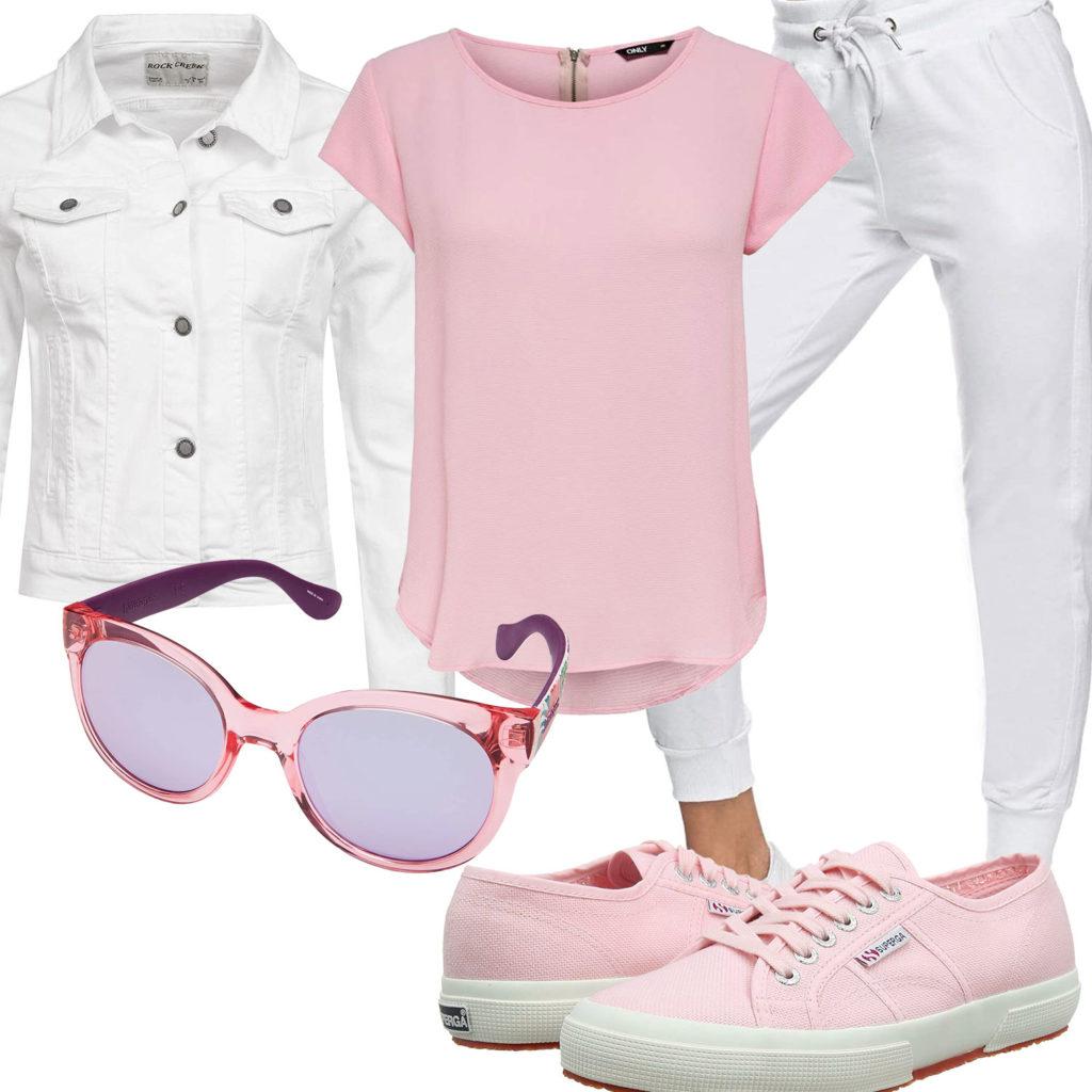 Rosa-Weißes Frauenoutfit mit Jogginghose und Shirt