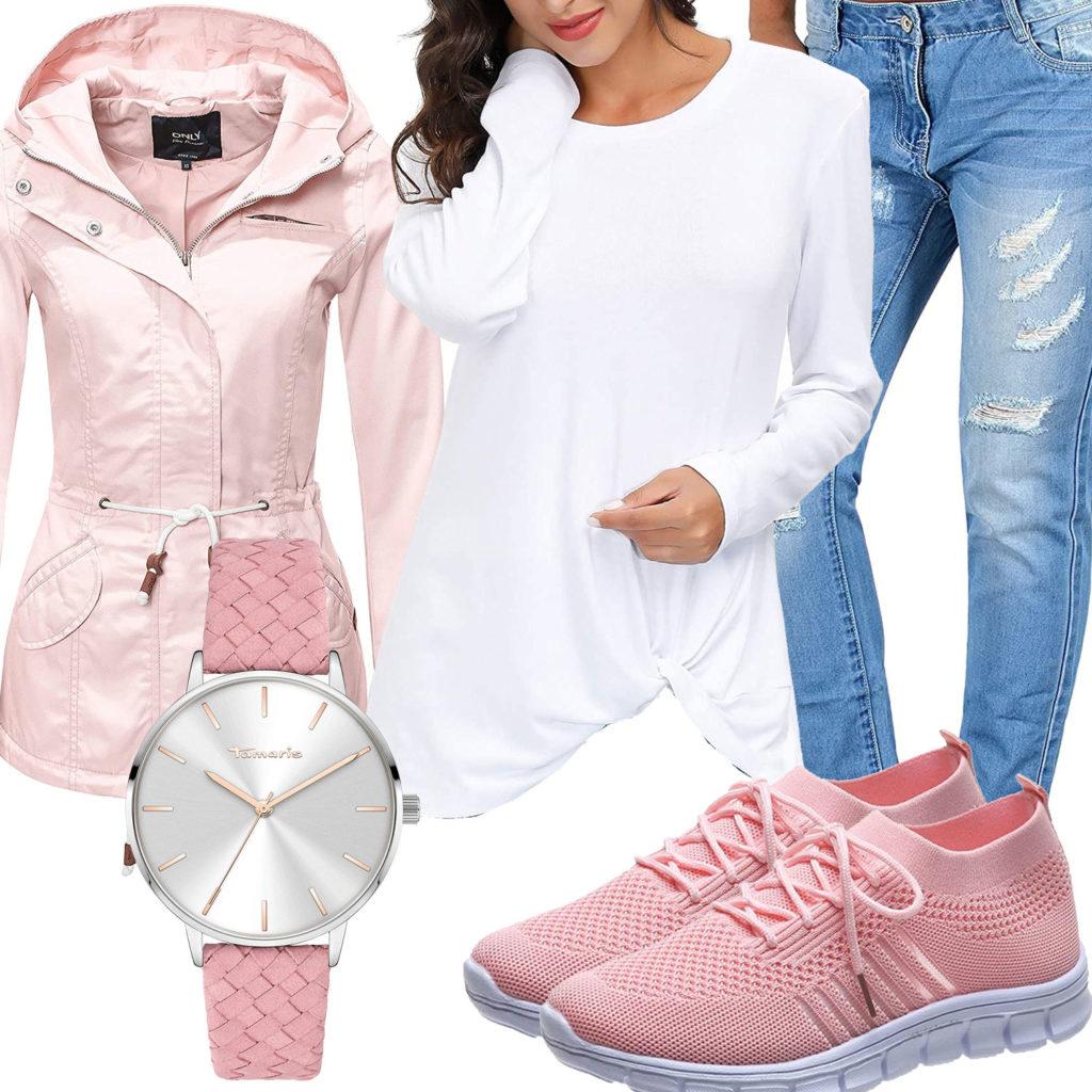 Frühlings-Frauenoutfit mit rosa Jacke und Sneakern