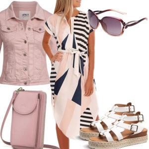 Sommer-Frauenoutfit mit rosa Jeansjacke und Tasche
