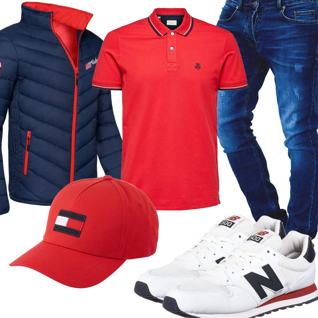 Blau-Roter Herren-Style mit Poloshirt und Cap