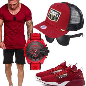 Rotes Herrenoutfit mit Shirt, Cap und Sneakern