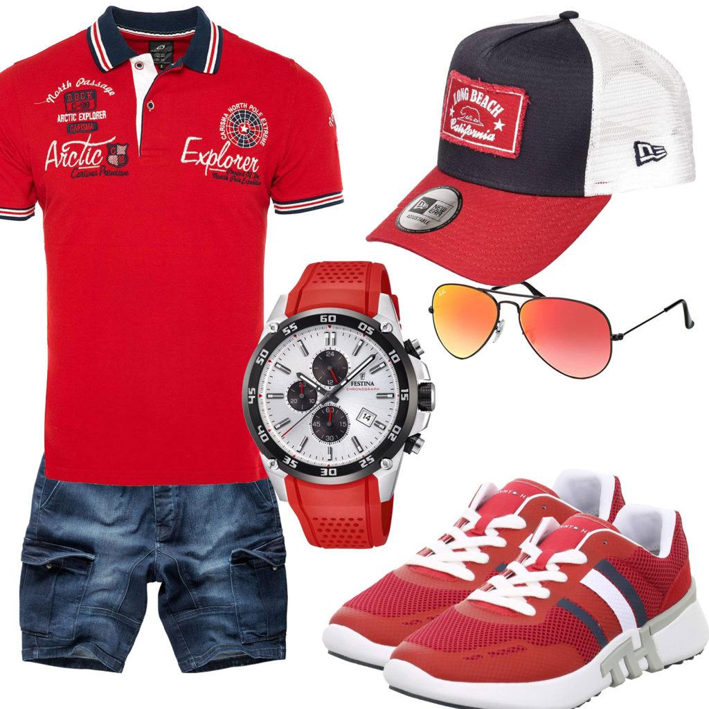Rotes Herrenoutfit mit Poloshirt, Sneakern und Uhr