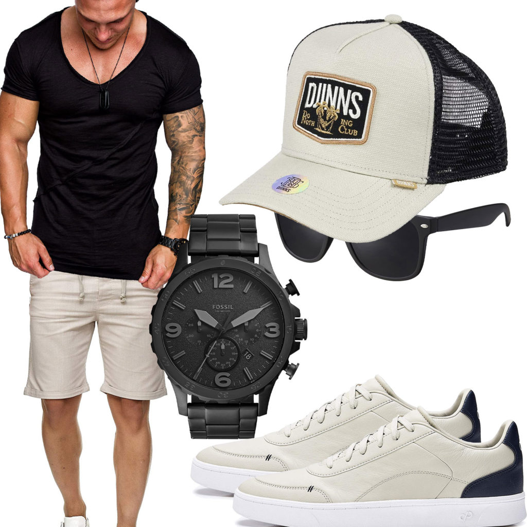 Beige-Schwarzes Herrenoutfit mit Cap und Shirt