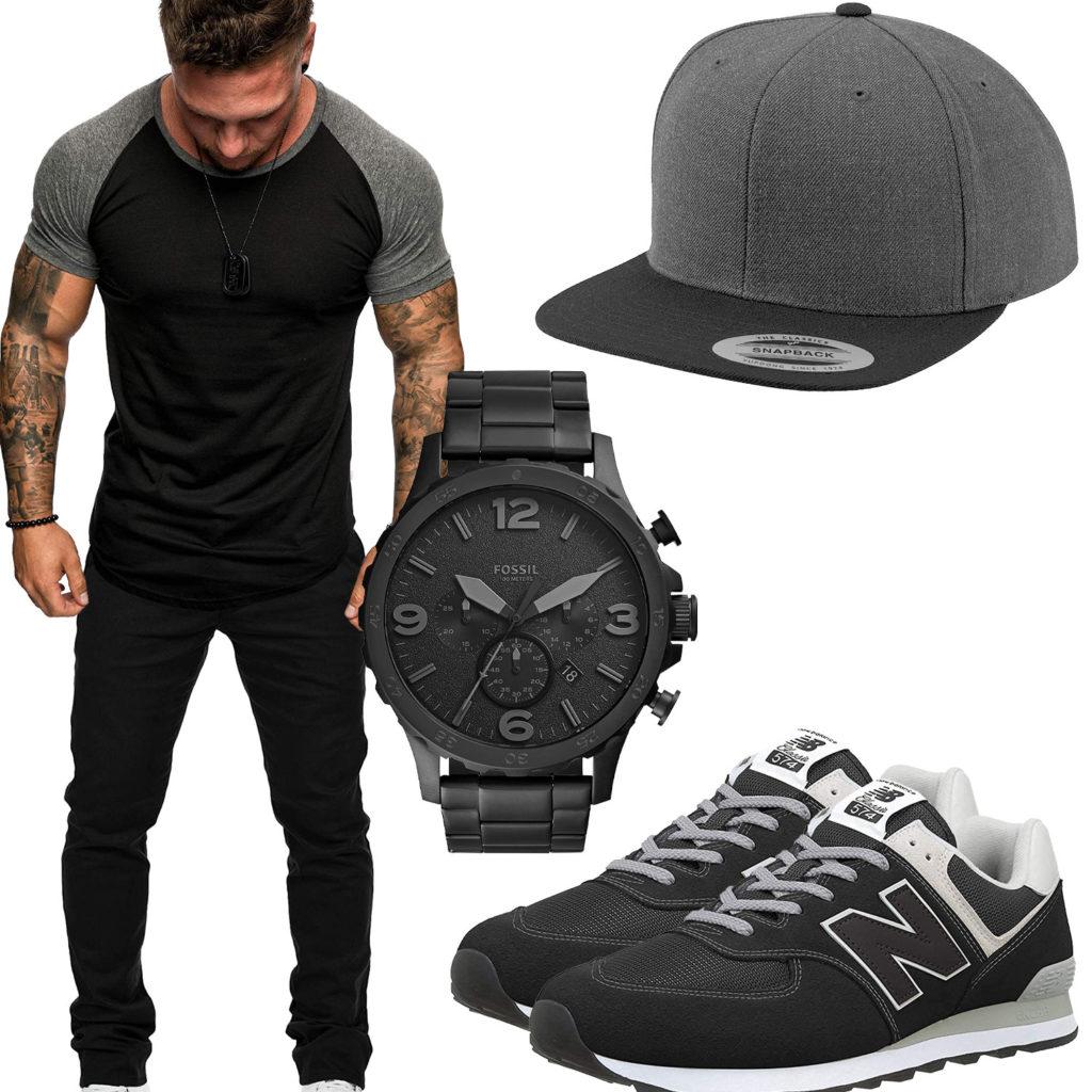 Schwarz-Graues Herrenoutfit mit Cap, Uhr und Sneakern