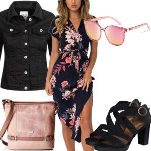 Schwarz-Rosa Damenoutfit mit Blumen-Kleid