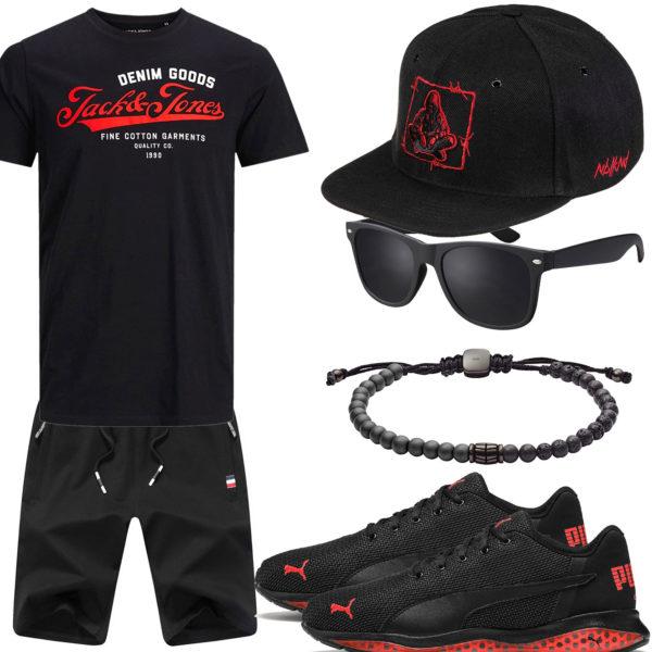Schwarz-Rotes Herrenoutfit mit Sneakern und Cap