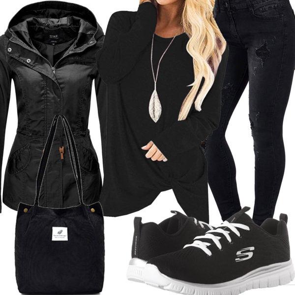 Schwarzes Frauenoutfit mit Jacke, Jeans und Longsleeve
