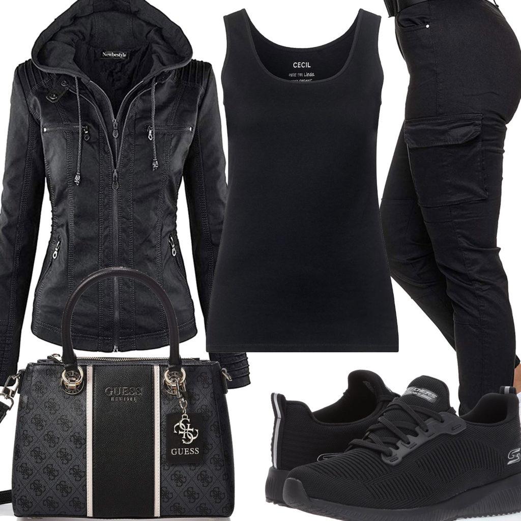 Komplett schwarzes Frauenoutfit mit Lederjacke und Top