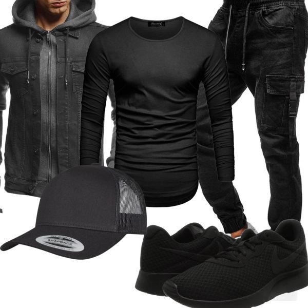 Schwarzes Herrenoutfit mit Jeansjacke und Cap
