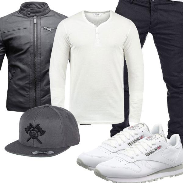 Herrenoutfit mit anthraziter Lederjacke und Hose