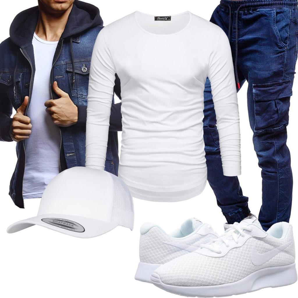 Lässiger Herren-Style mit weißem Longsleeve und Cap