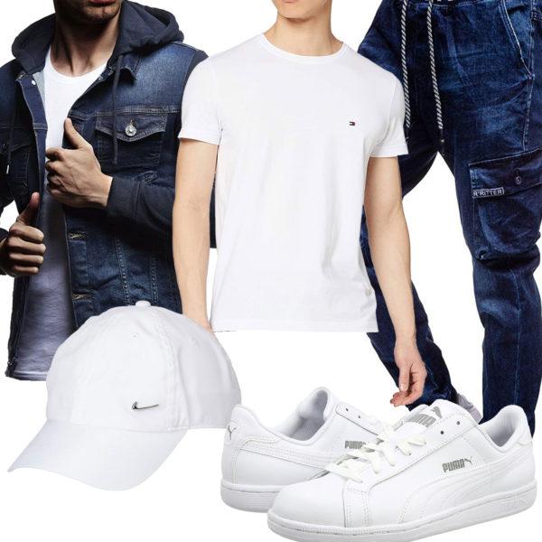 Lässiger Herren-Style mit Jeansjacke und Cap