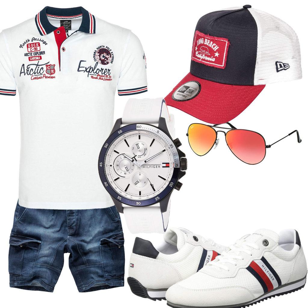 Herren-Style mit weißem Poloshirt, Uhr und Sneakern