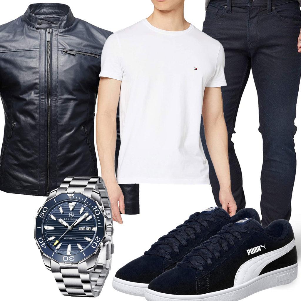 Herren-Style mit dunkelblauer Lederjacke uns Jeans
