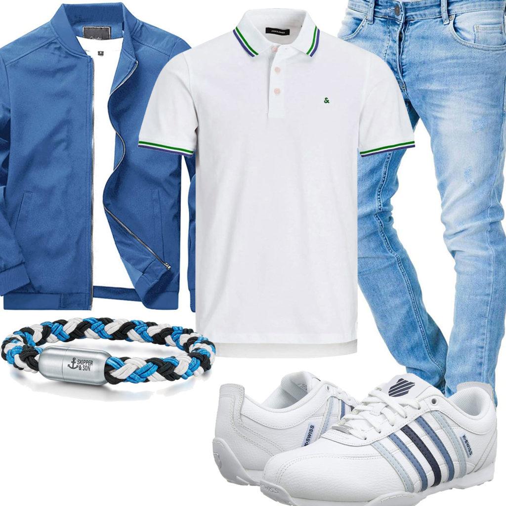 Frühlings-Herrenoutfit in Weiß und Hellblau