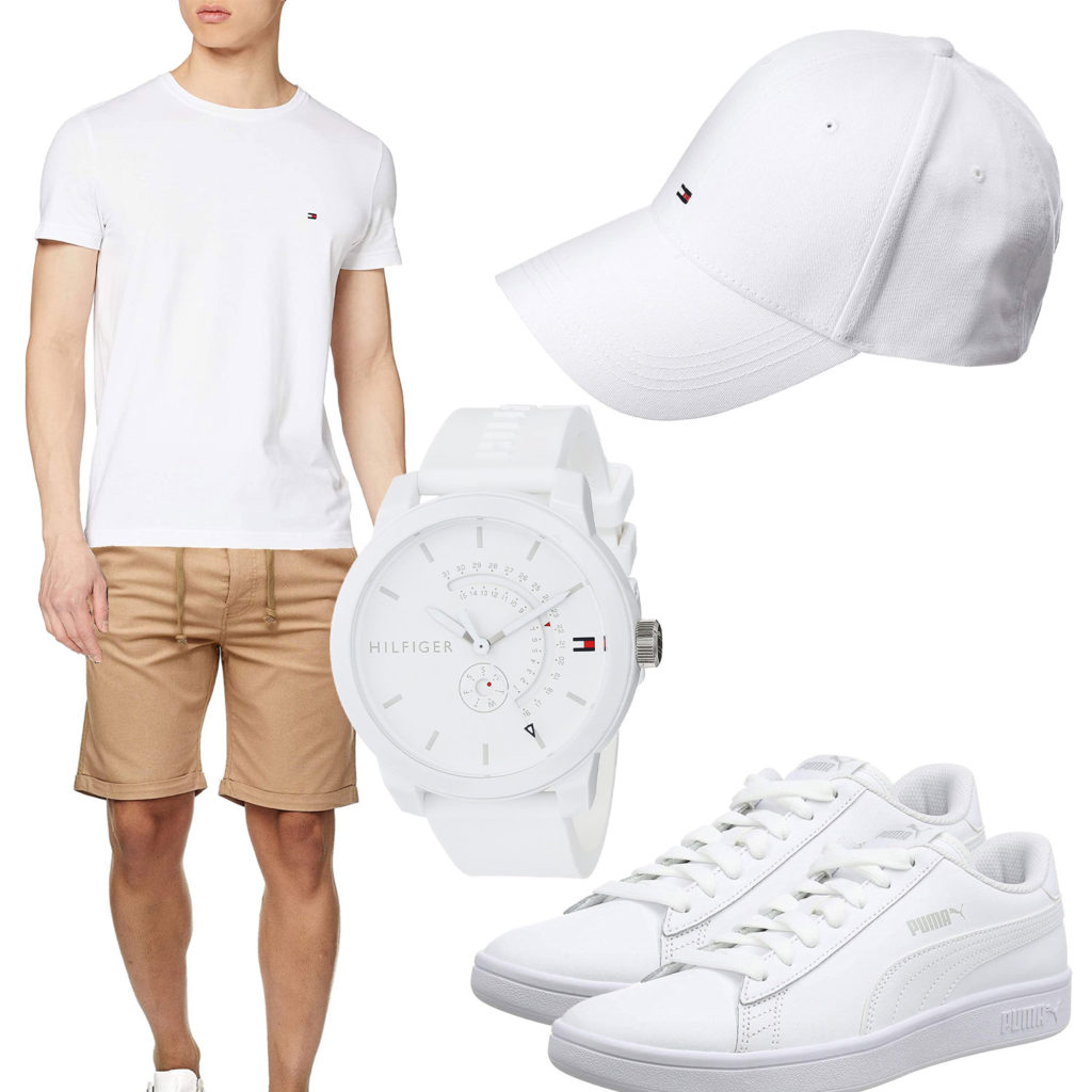 Weißes Herrenoutfit mit Tommy Hilfiger Uhr und Cap