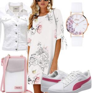Weiß-Rosa Damenoutfit mit Kleid, Jeansjacke und Uhr