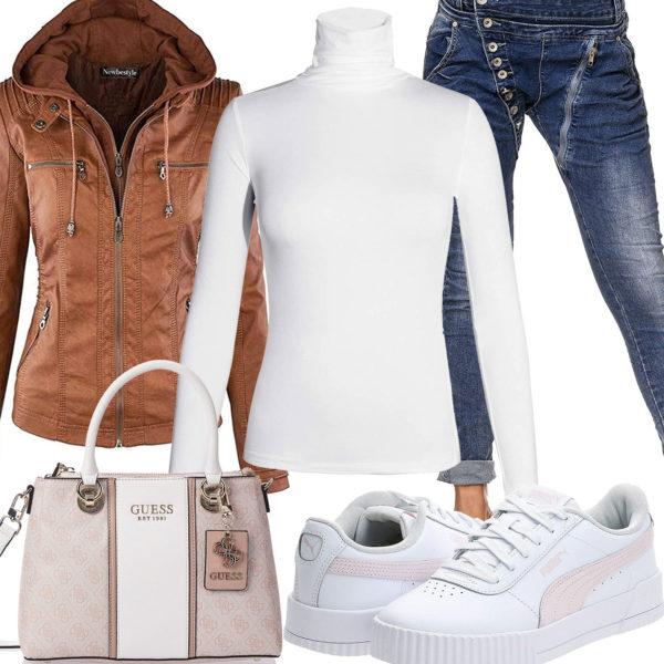 Frühlings-Frauenoutfit mit hellbrauner Lederjacke, Jeans und Tasche