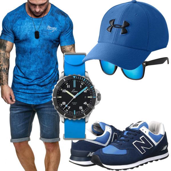 Azurblaues Herrenoutfit mit Cap, Uhr und Sonnenbrille