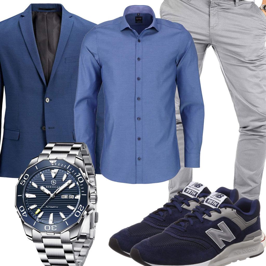 Blau-Graues Herrenoutfit mit Hemd und Sakko