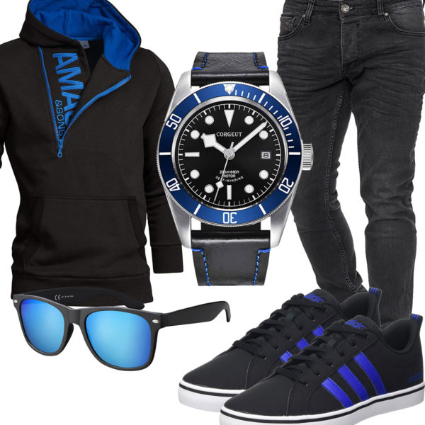 Blau-Schwarzer Style mit Hoodie, Brille und Uhr