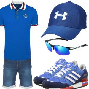 Blaues Herrenoutfit mit Poloshirt, Cap und Sneakern