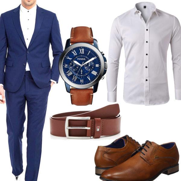 Business-Herrenoutfit mit blauem Anzug und Hemd