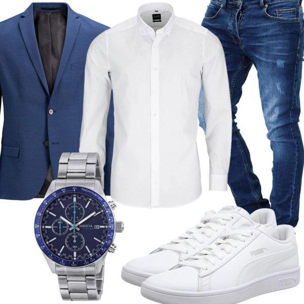 Blau-Weißes Herrenoutfit mit Hemd, Sakko und Jeans