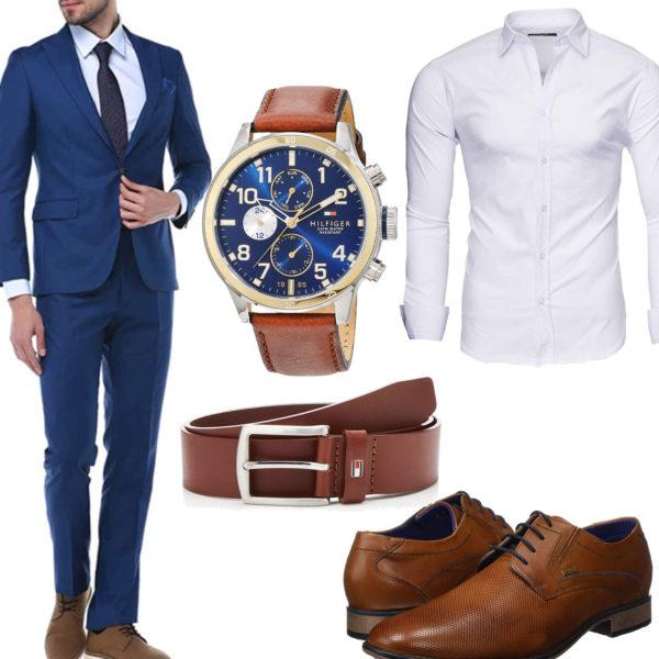 Business-Style mit Hemd, Anzug und Uhr