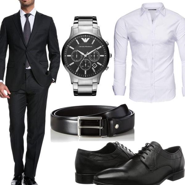 Business-Style mit schwarzem Anzug, Gürtel und Schuhen