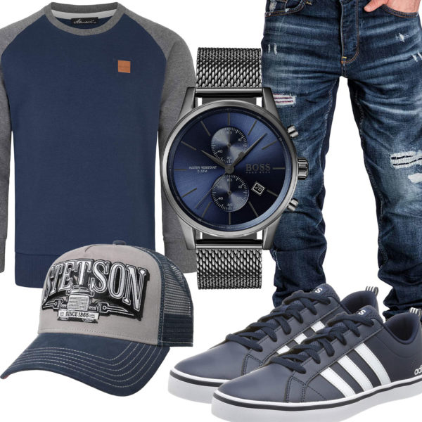 Blau-Graues Herrenoutfit mit Cap, Sneakern und Uhr