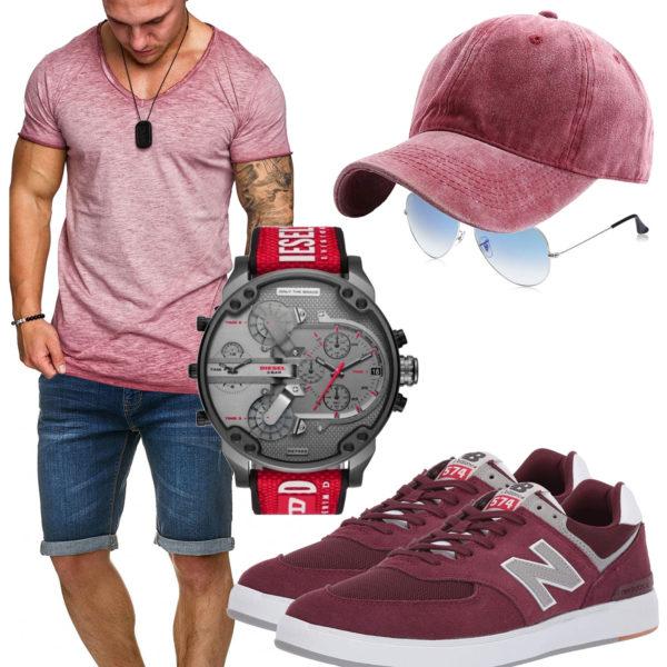 Rotes Herrenoutfit mit Uhr, Cap und Sneakern