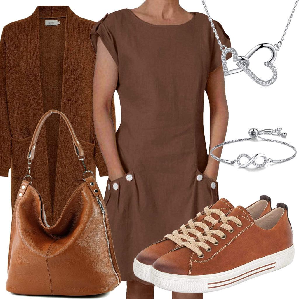 Brauens Frauenoutfit mit Kleid, Sneakern und Tasche