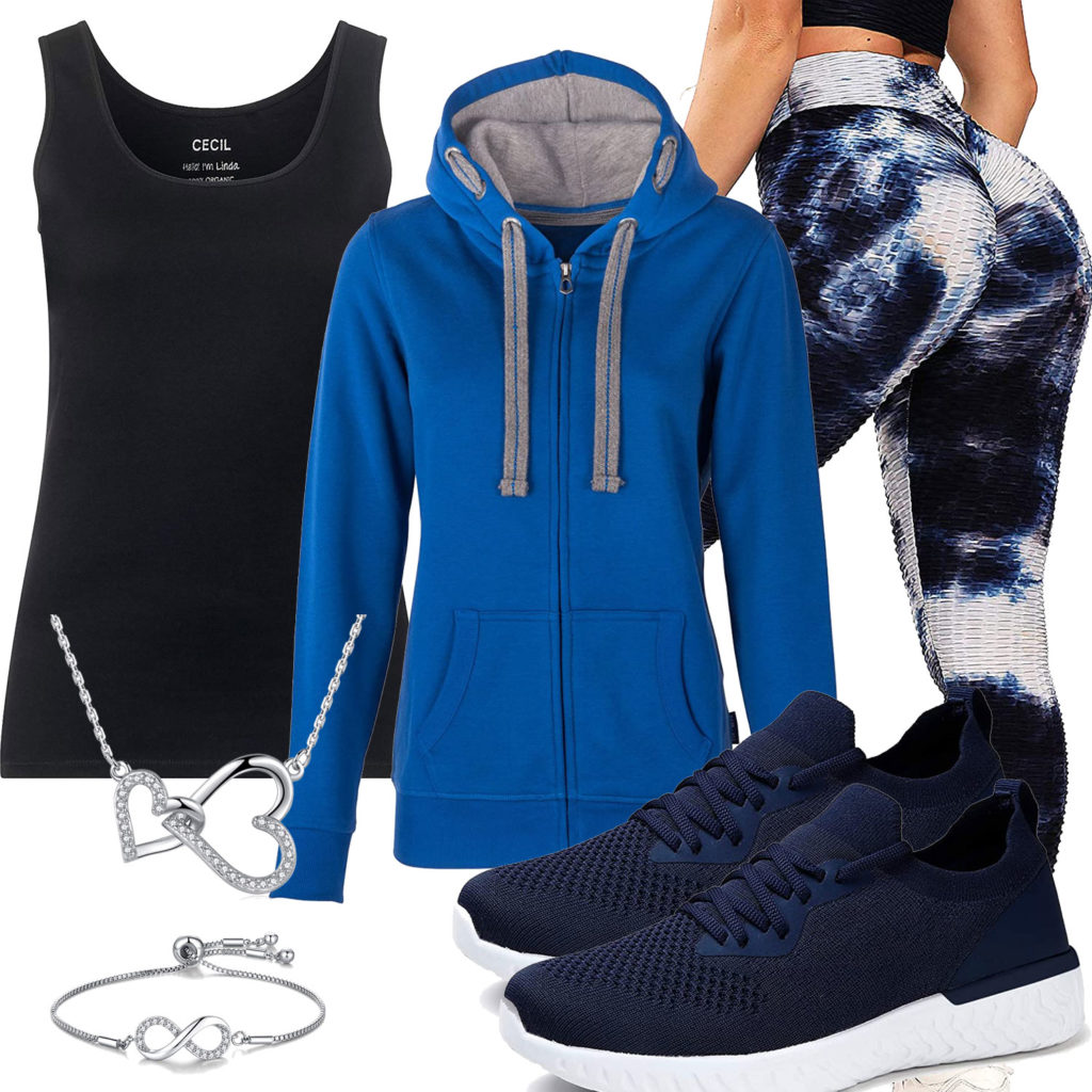 Blau-Schwarzers Frauenoutfit mit Leggings und Hoodie