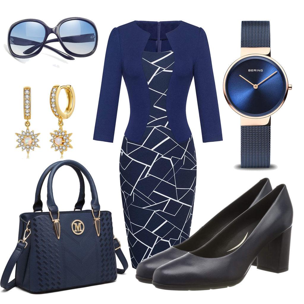 Elegantes Damenoutfit mit blauem Kleid und Pumps