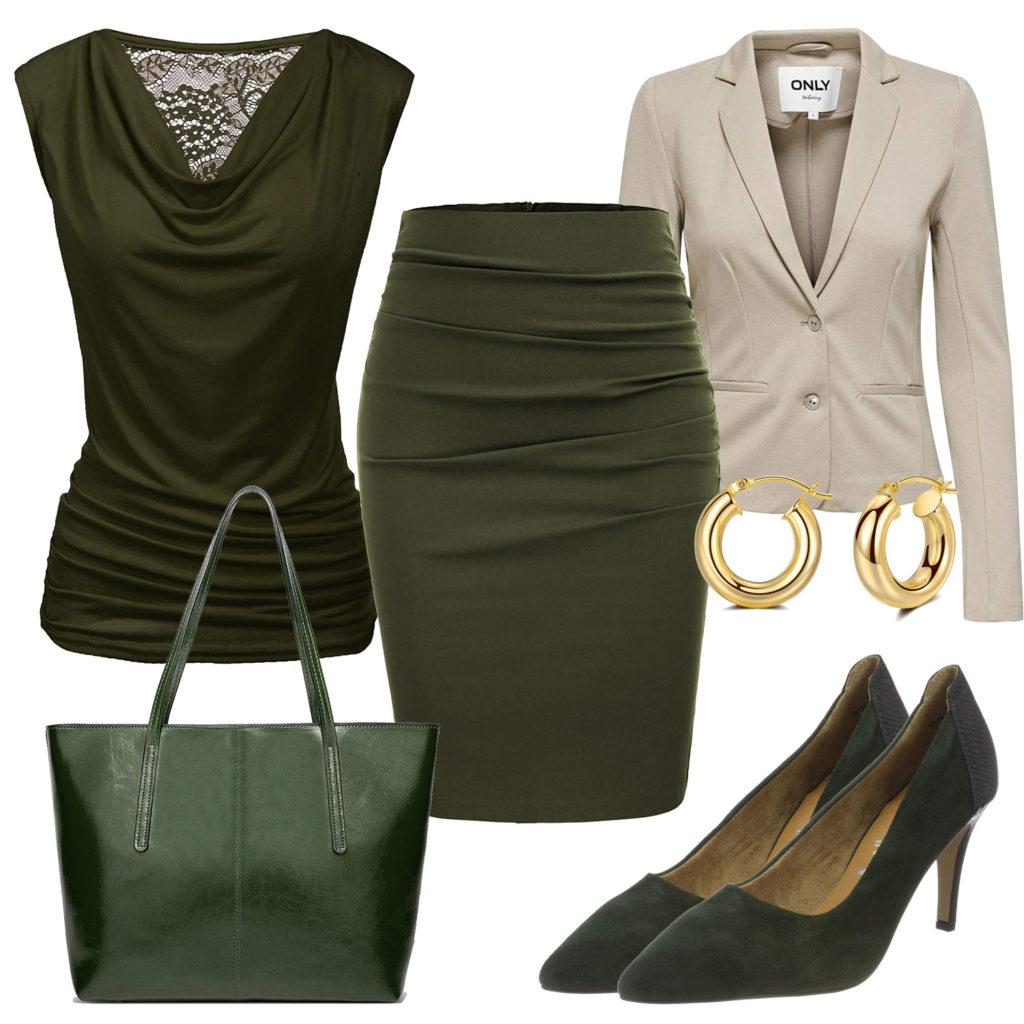 Business-Frauenoutfit mit Blazer, Bluse und Rock