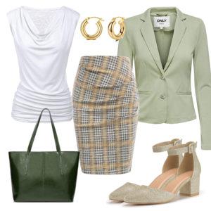 Eleganter Business-Style mit Bluse, Blazer und Creolen