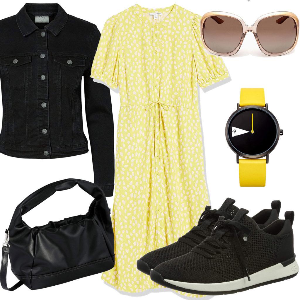 Schwarz-Gelbes Frauenoutfit mit Kleid und Jeansjacke