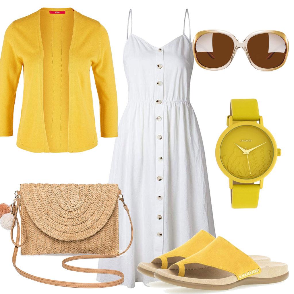 Sommer-Style für Frauen in Gelb und Weiss