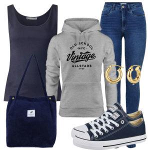 Dunkelblaues Herrenoutfit mit Top und Jeans