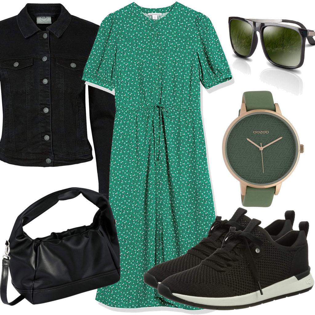 Grün-Schwarzes Frauenoutfit mit Kleid, Jeansjacke und Uhr