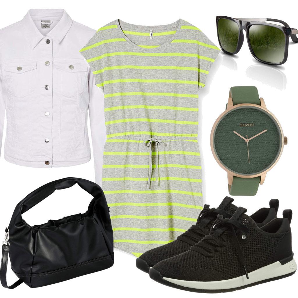 Schwarz-Grünes Frauenoutfit mit Kleid und Uhr