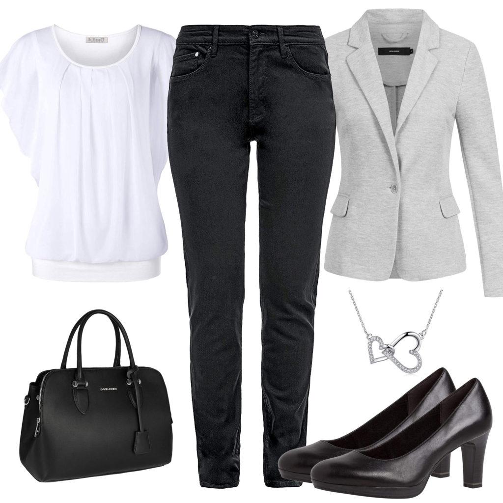 Business-Damenoutfit mit Blazer, Bluse und Kette