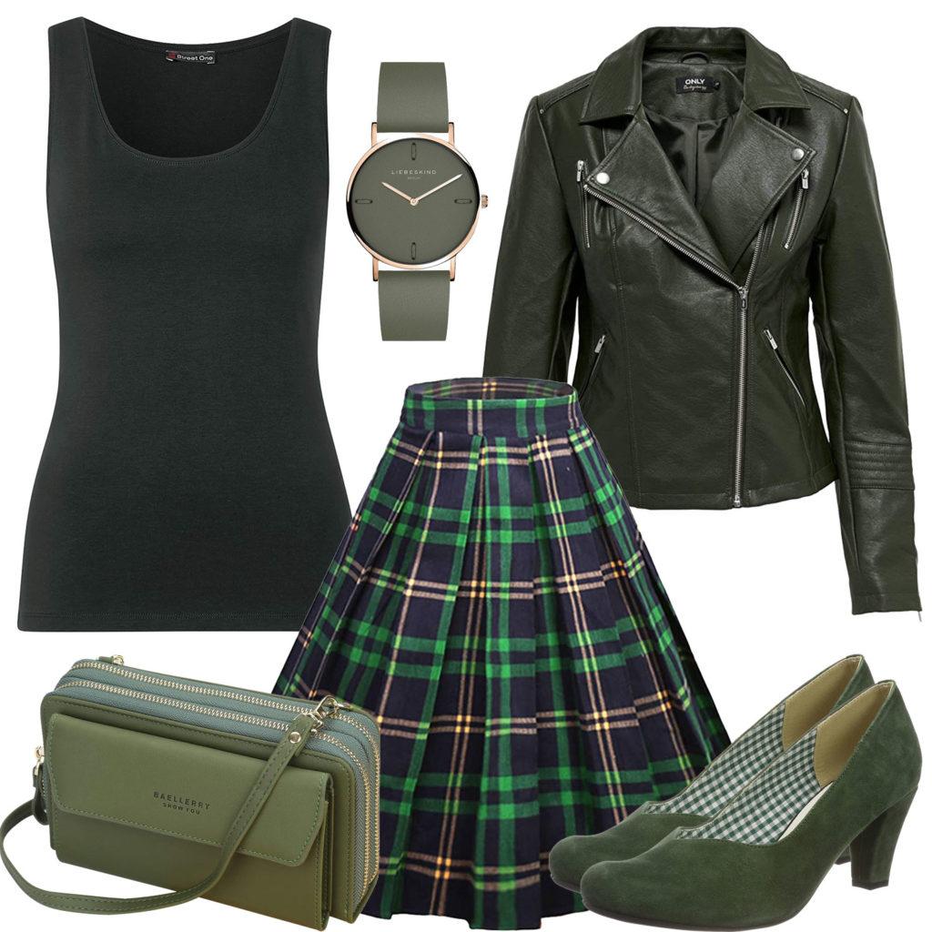 Grün-Schwarzes Frauenoutfit mit Lederjacke und Rock