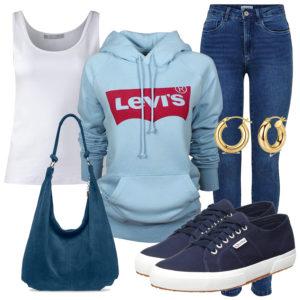 Frühlings-Style mit Top, Hoodie und Jeans