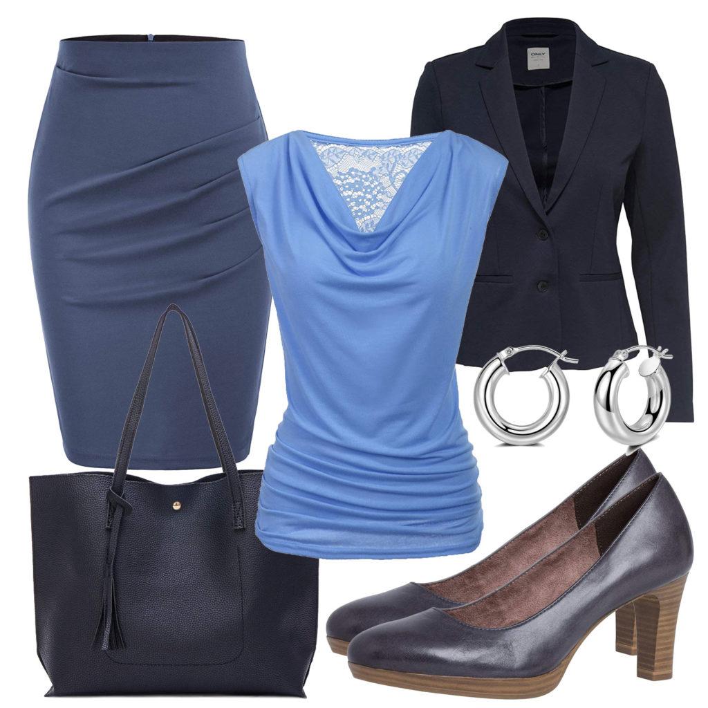 Business-Frauenoutfit mit blauer Bluse und Rock