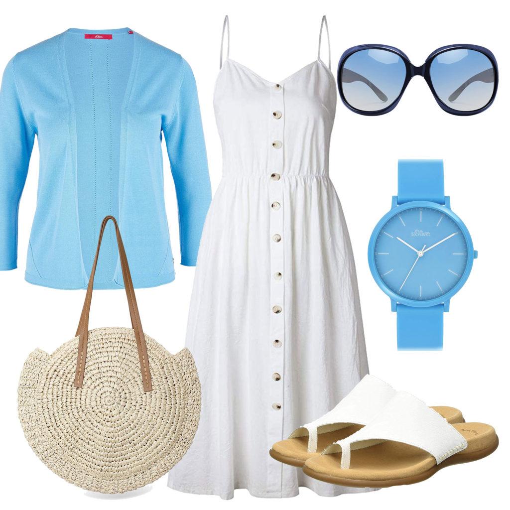 Frühlings-Damenoutfit in Weiß und Hellblau