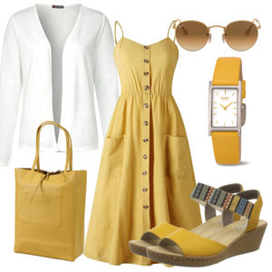 Gelbes Frühlings-Frauenoutfit mit weißer Strickjacke
